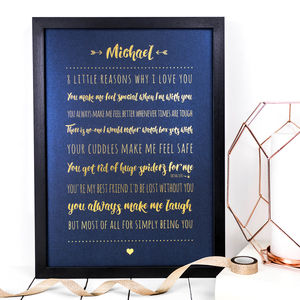 Personalised A3 Foil Print Reasons I Love You