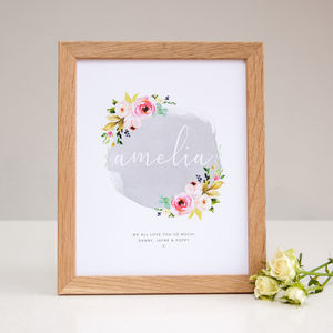 Floral Name Personalised Nursery Print