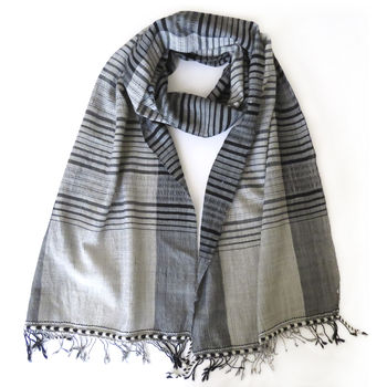 Grey And White Artisan Check Wool Scarf