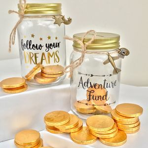 Glass Money Box With Golden Chocolate Coins