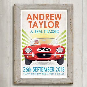 Jaguar E Type Personalised Birthday Print - activities & sports