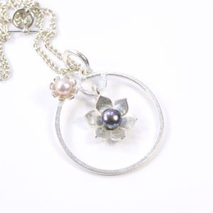 Silver And Pearl Star Flower Frame Large Circle Pendant - necklaces & pendants