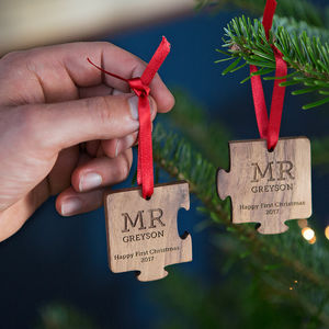 Wedding Christmas Jigsaw Decoration - christmas eve for grown ups