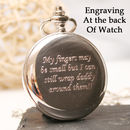 Engraved Pocket Watch Birthday Gift Circular Design