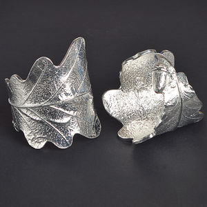 Oak Leaf Napkin Rings Pair, House Warming Gifts - table decorations