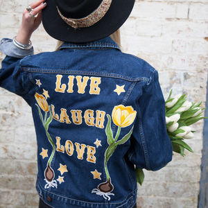 'Live, Laugh, Love' Tulip Embroidered Denim Jacket - gifts for her