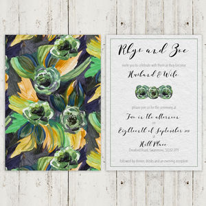 60s Painted Floral Wedding Invitation Sample - invitations