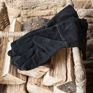 Black Gauntlet Fireside Gloves - fireplace accessories