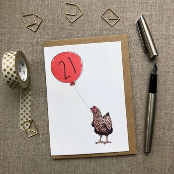 Personalised 21st Birthday Card Hen Design