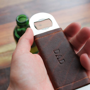 Personalised Bottle Opener With Leather Jacket - drinks connoisseur
