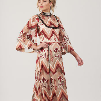 Cacia Chevron Scalloped Edge Maxi Dress