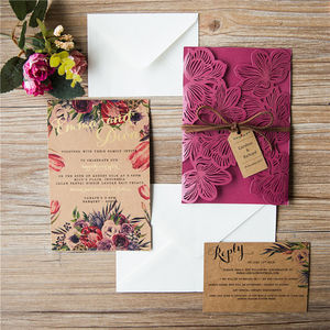 Flower Laser Cut Gatefold Wedding Invitation - adults party invitations