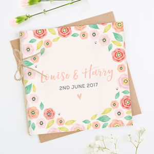Bright Floral Kraft Folded Square Invite - invitations