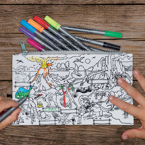 Dinosaur Cotton Pencil Case To Colour In, Pens Included
