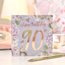 90th Birthday Botanical And Gold Greeting Card