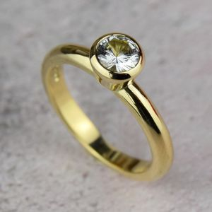 18ct Gold White Sapphire Engagement Ring - engagement rings