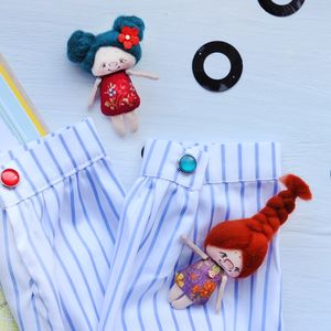 Hand Made Natural Doll Brooch - children's jewellery