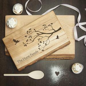 Personalised Family Tree Wood Serving Board - 5th anniversary: wood