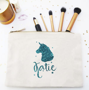 Personalised Glitter Unicorn Make Up / Wash Bag - make-up & wash bags