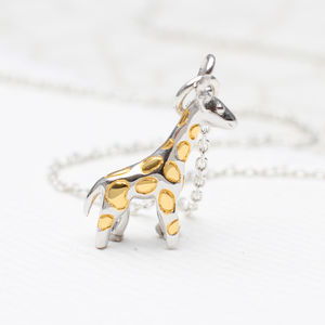 Personalised Sterling Silver Giraffe Necklace