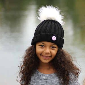 Black Beanie Hat With Removable Faux Fur Pom Pom - babies' hats