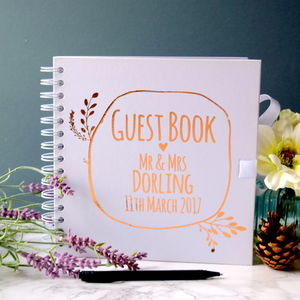 Personalised Wreath Wedding Guest Book - albums & guest books
