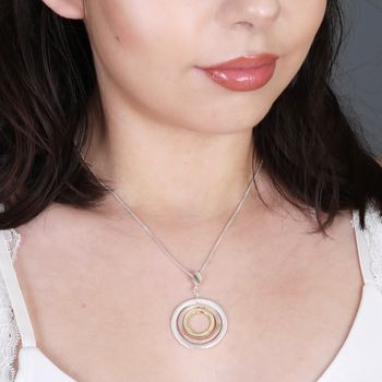 Mixed Metal Triple Circle Necklace