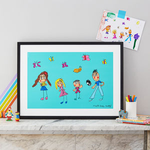 Personalised Family Print From Your Child's Drawing - personalised
