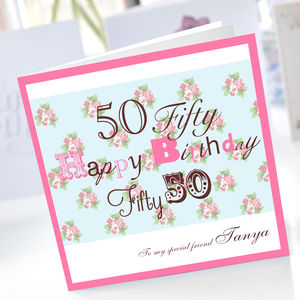 Personalised 50th Birthday Card - 50th birthday cards