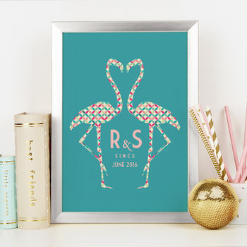 Personalised Flamingo Couple Art Print
