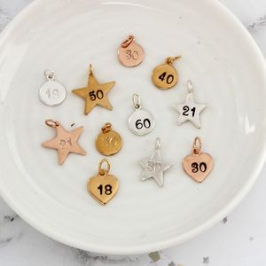 Sterling Silver, Rose Gold Or Gold Number Charms
