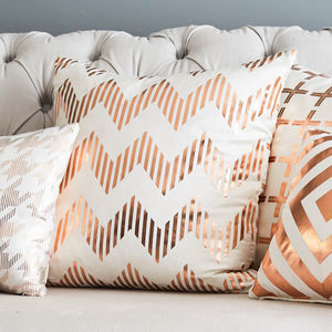 Metallic Chevron Square Silk Cushion - bedroom