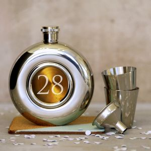 Personalised 'Age' Porthole Hipflask Set