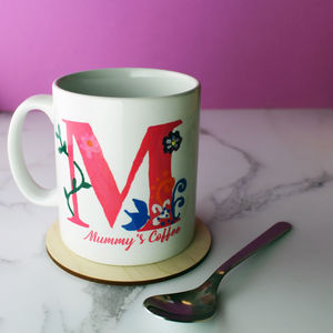Hand Painted Personalised Initial Mug