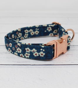 Audrey Rose Gold Liberty Fabric Dog Collar - dog collars