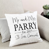 Personalised 'Mr And Mrs' Wedding Cushion - wedding gifts
