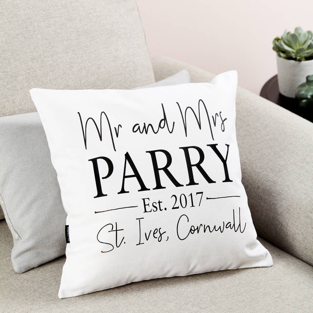 Personalised Mr And Mrs Wedding Cushion By Tillyanna