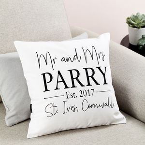 Personalised 'Mr And Mrs' Wedding Cushion - living room