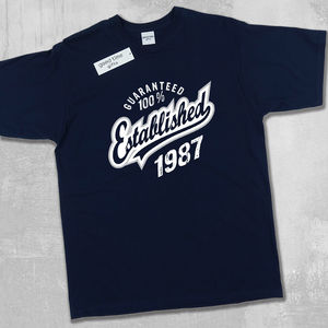'Established' Birthday T Shirt Years 1999 To 1963