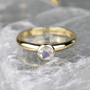 Solid Gold Moonstone Solitaire Ring - birthstone jewellery gifts