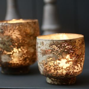 Two Taupe Tealight Votives - table decorations