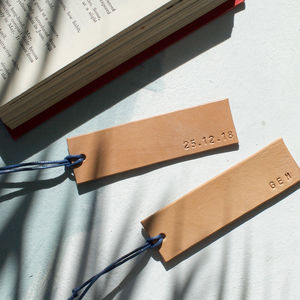 Oak Bark Tanned Leather Personalised Bookmark - desk accessories