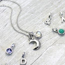 Silver Moon Initial Necklace