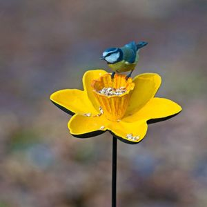 Cast Iron Daffodil Bird Feeder Garden Ornament