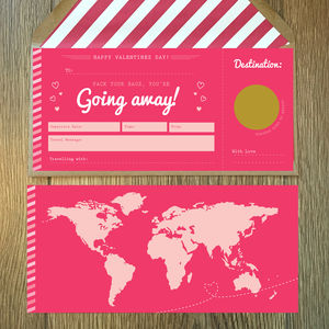 Valentines Jetting Off Scratch Card Boarding Pass