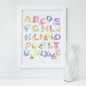 Alphabet Animal Nursery Baby Toddler Art Print