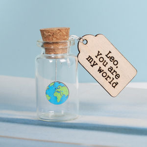 You Are My World Valentine's Keepsake Message Bottle - tokens & keep sakes