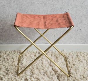 Pink And Gold Canvas Stool - furniture