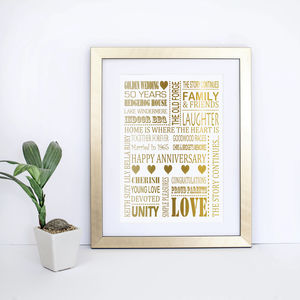 Golden Wedding Anniversary Gold Foil Print