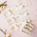 Six Rose Gold Floral Team Bride Sashes